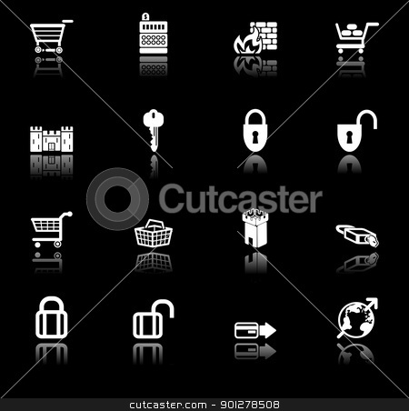 security icon set stock vector clipart, security and e-commerce icon set series.  by Christos Georghiou
