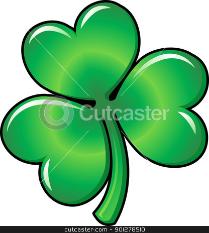 Illustration of Shamrock clover stock vector clipart, Illustration of green Shamrock clover leaf  by Christos Georghiou