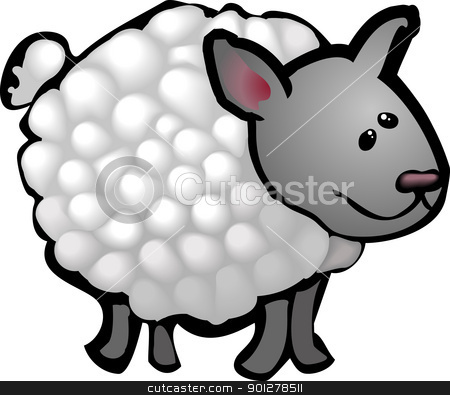 cute sheep illustration stock vector clipart, A cute sheep in a rough and ready style! No meshes used, all blends or gradients.  by Christos Georghiou