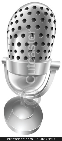 Retro steel radio microphone stock vector clipart, A shiny silver steel metallic old style retro microphone vector illustration with dynamic perspective. Can be used as an icon or illustration in its own right. by Christos Georghiou