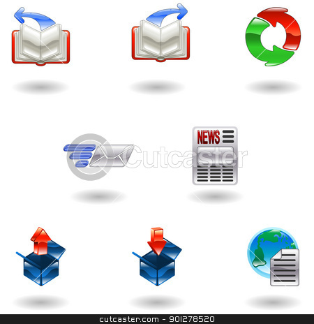 Shiny internet browser icon set stock vector clipart, A set of shiny internet browser icons  by Christos Georghiou