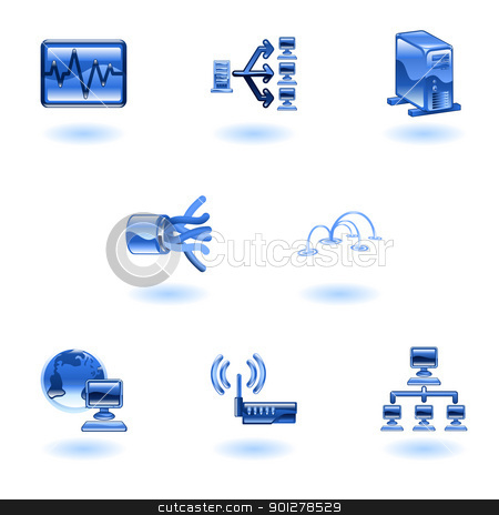 Glossy Computer Network Icon Set stock vector clipart, A glossy computer network and internet icon set  by Christos Georghiou