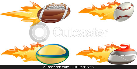 Shiny glossy flame sport icons stock vector clipart, A glossy shiny sport icon set with flames and fire. American football ball, baseball ball, rugby ball and curling stone flying fast through the air with flames and fire jetting out the back  by Christos Georghiou