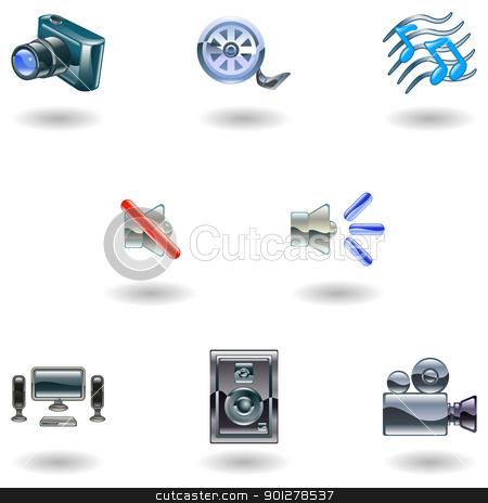 Shiny Media Icons stock vector clipart, A set of shiny slossy media icons  by Christos Georghiou
