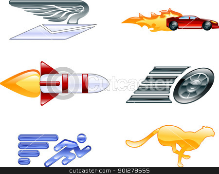 Shiny speed and efficiency concept  icons stock vector clipart, A conceptual icon set relating to speed, being fast, and or efficient.  by Christos Georghiou