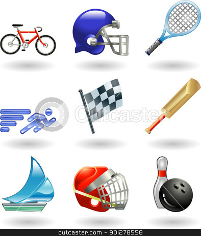 Shiny sports icon set series  stock vector clipart, Series set of shiny colour icons or design elements related to sports  by Christos Georghiou