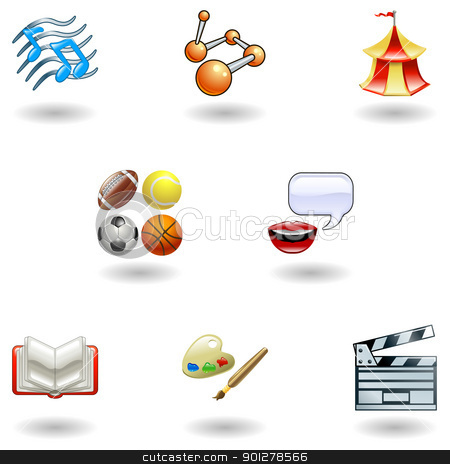 Glossy category education web icons stock vector clipart, a subject or category icon set eg. science, language, literature, history, music, physical education etc  by Christos Georghiou