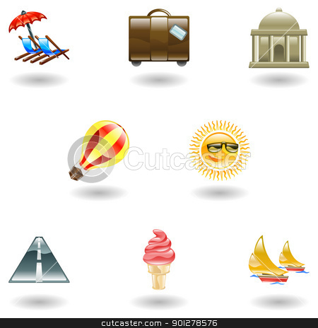Travel and tourism icon set stock vector clipart, A travel and tourism web icon set