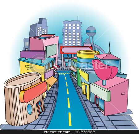 shoppig street  Illustration stock vector clipart, A commercial street with some very funky looking shops on it. Signs blank so you can write what you like on them. No Meshes used. by Christos Georghiou