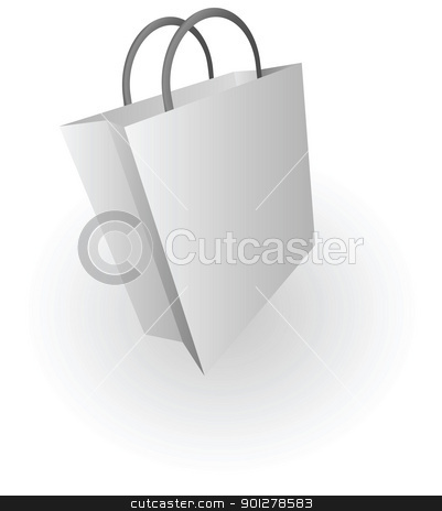 shopping bag stock vector clipart, Illustration of silver shopping bag by Christos Georghiou