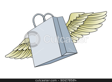 Shopping bag flying with wings concept stock vector clipart, An illustration of a  paper shopping bag flying with wings by Christos Georghiou