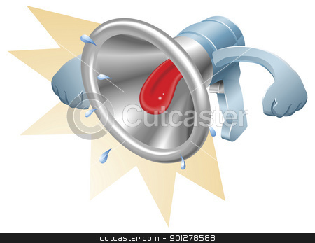 Bullhorn megaphone loudhailer shouting stock vector clipart, Vector illustration of a glossy steel metallic bullhorn megaphone loudspeaker loudhailer with mouth shouting loudly. by Christos Georghiou