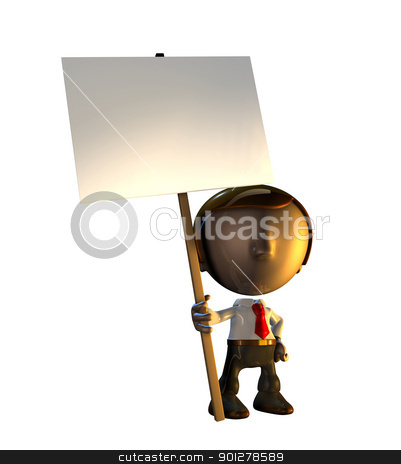 3d business man character standing holding sign stock photo, 3d business man character mascot standing holding a sign placard on a pole. by Christos Georghiou