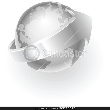 silver metallic globe stock vector clipart, Illustration of a silver metallic globe with an arrow around it by Christos Georghiou