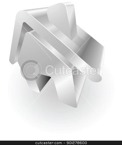 silver metallic house stock vector clipart, Illustration of a silver metallic house  by Christos Georghiou