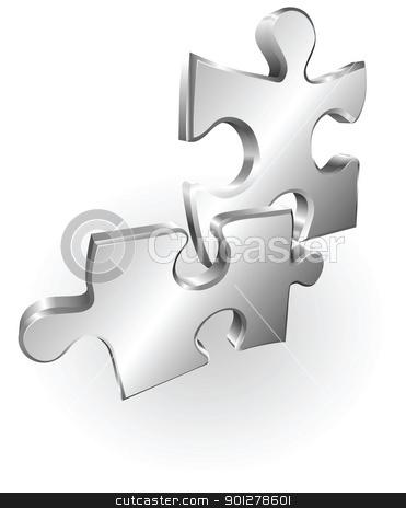 silver metallic jigsaw pieces stock vector clipart, Illustration of two silver metallic jigsaw puzzle pieces by Christos Georghiou