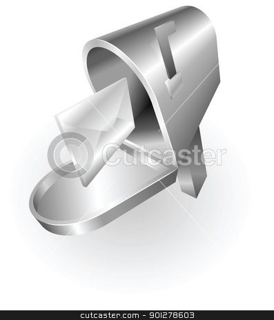 silver metallic mail box stock vector clipart, Illustration of a silver metallic mailbox by Christos Georghiou