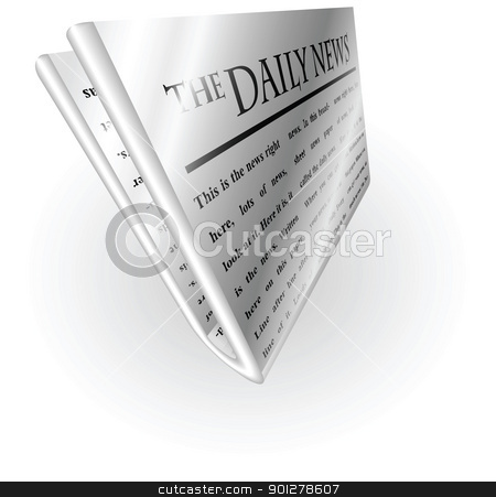 silver metallic news paper stock vector clipart, Illustration of a silver metallic newspaper by Christos Georghiou
