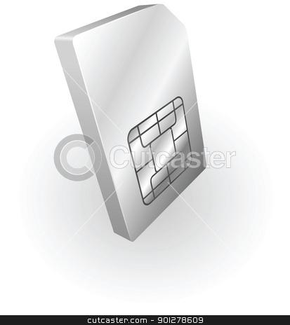 silver metallic sim phone card stock vector clipart, Illustration of a silver metallic sim card by Christos Georghiou