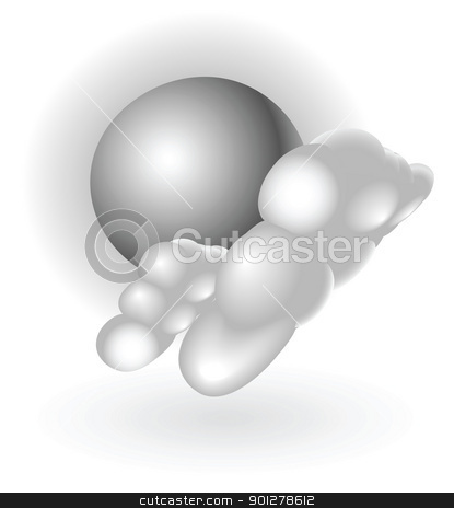 silver metallic weather icon stock vector clipart, Illustration of silver metallic clouds and sun by Christos Georghiou