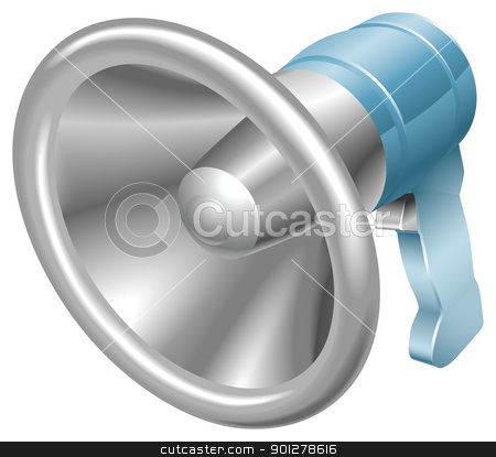 Bullhorn megaphone loudspeaker loudhailer  stock vector clipart, Vector illustration of a glossy steel metallic bullhorn megaphone loudspeaker loudhailer. Can be used as an icon or illustration in its own right.  by Christos Georghiou