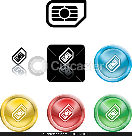 SIM card icon symbol stock vector clipart, Several versions of an icon symbol of a stylised mobile phone sim card  by Christos Georghiou