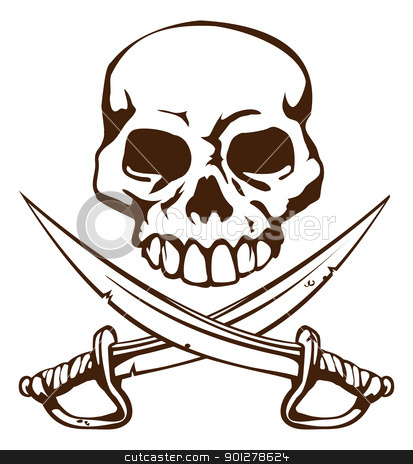 Pirate skull and crossed swords symbol stock vector clipart, A pirate skull and crossed swords symbol by Christos Georghiou