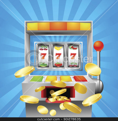 Slot fruit machine winning stock vector clipart, A slot fruit machine winning on 7s. Gold coins fly out at the viewer. by Christos Georghiou