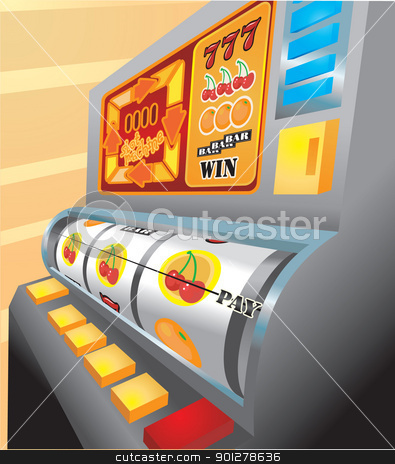slot machine illustration stock vector clipart, An illustration of a slot machine about to pay out on cherries!  by Christos Georghiou