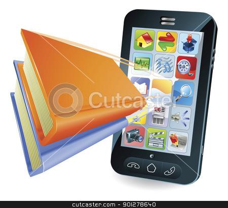 Smartphone book concept stock vector clipart, Smartphone book conceptual illustration by Christos Georghiou