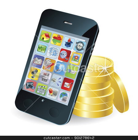 Smart phone and coins illustration stock vector clipart, Modern mobile smart phone and coins conceptual illustration. by Christos Georghiou