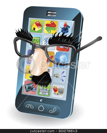 Mobile phone theft concept stock vector clipart,  Mobile phone with disguise on, concept for chipping phone or cloning sims etc. by Christos Georghiou