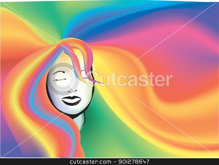retro Rainbow hair background  stock vector clipart, A retro Rainbow hair background  by Christos Georghiou