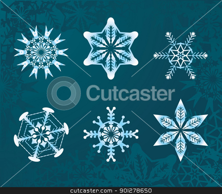 snowflakes set stock vector clipart, some snowflakes  by Christos Georghiou