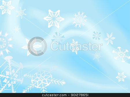 snowflakes background stock vector clipart, a winter background with snowflakes falling. Shading by blends, no meshes used.  by Christos Georghiou