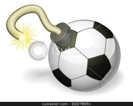 Soccer ball bomb concept stock vector clipart, Retro cartoon soccer ball cherry bomb with lit fuse burning down. Concept for countdown to big football event or crisis. by Christos Georghiou