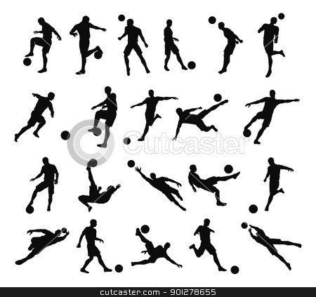 Soccer football player silhouettes stock vector clipart, Very high quality detailed soccer football player silhouette outlines. by Christos Georghiou