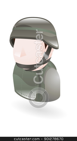 Iillustration of a modern soldier stock vector clipart, An illustration of a modern soldier by Christos Georghiou