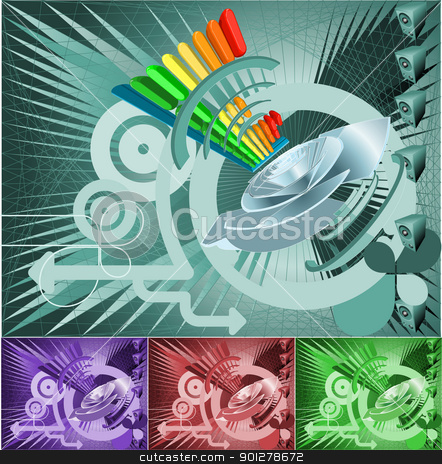 cool music or sound background stock vector clipart, Illustration of a cool music or sound background featuring speakers and equalizer graphics.  by Christos Georghiou