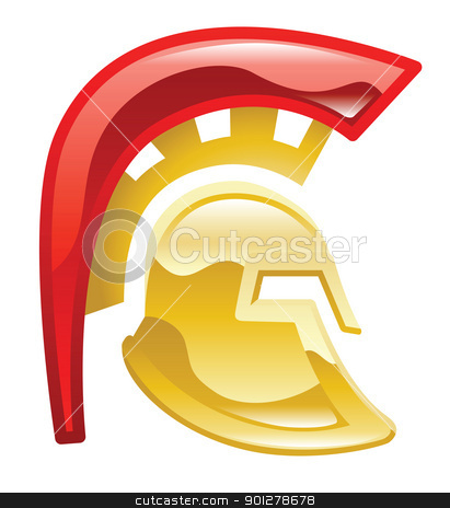 spartan helmet Illustration stock vector clipart, Illustration of a Spartan or trojan helmet by Christos Georghiou