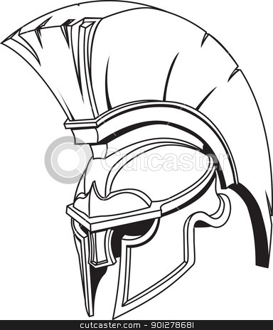 Illustration of Spartan roman greek trojan or gladiator helmet stock vector clipart, An illustration of Spartan roman greek trojan or gladiator helmet with plume  by Christos Georghiou
