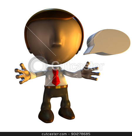 3d business man character with speech bubble stock photo, 3d business man character with speech bubble or caption by Christos Georghiou