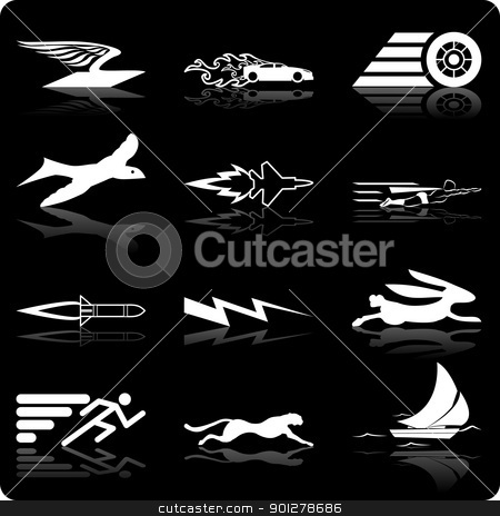 speed icons stock vector clipart, A conceptual icon set relating to speed, being fast, and or efficient.  by Christos Georghiou