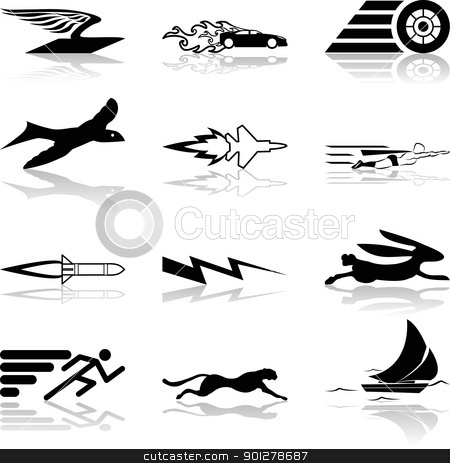 Conceptual icon set speedy and efficient stock vector clipart, A conceptual icon set relating to speed, being fast, and or efficient.  by Christos Georghiou
