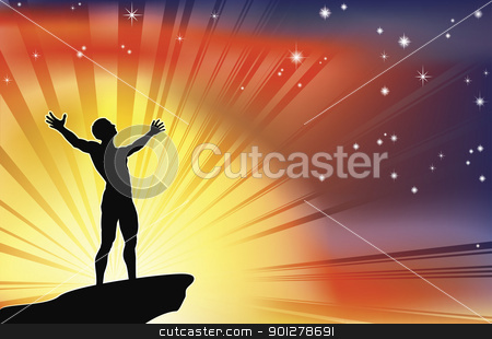 Man on cliff top with arms raised stock vector clipart, A joyous man with arms stretched  up to a glorious sky. by Christos Georghiou