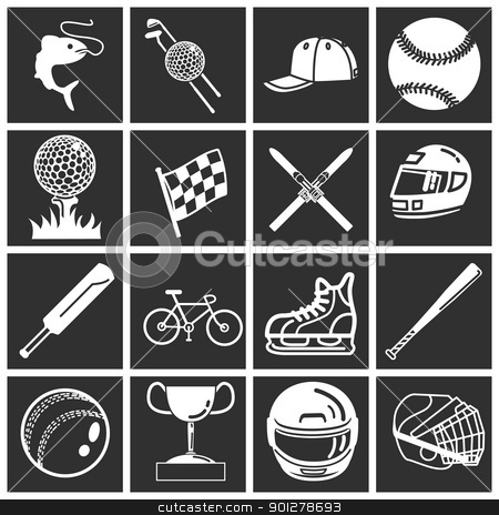 sports icon set stock vector clipart, A set of sports icons / design elements. Vector art in Adobe Illustrator 8 EPS format. Can be scaled to any size without loss of quality.  by Christos Georghiou