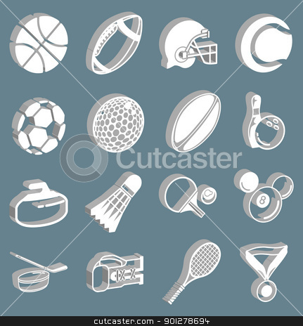 sports icon set stock vector clipart, series of icons or design elements relating to sports  by Christos Georghiou