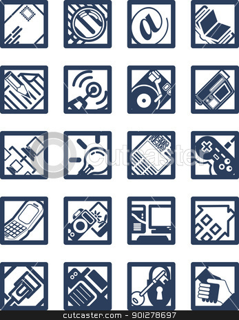 Square Internet Computing Icons  stock vector clipart, Square Internet Computing Icons  by Christos Georghiou