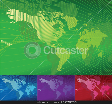 A dynamic 3d world map with background.  stock vector clipart, A dynamic 3d world map with background. Vector file includes several different colour versions  by Christos Georghiou