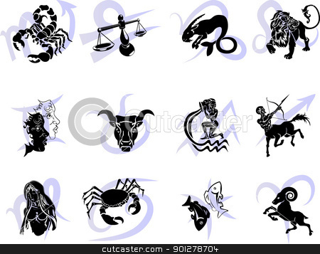 Twelve Horoscope Zodiac Star signs  stock vector clipart, Illustrations of the twelve Horoscope Zodiac Star signs  by Christos Georghiou